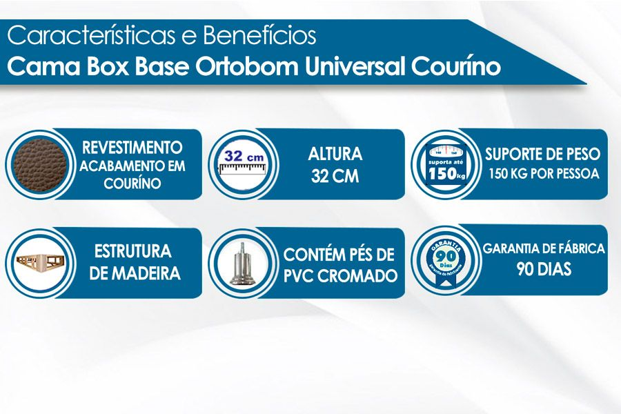 Cama Box Base Ortobom Universal Courino Bianco 020