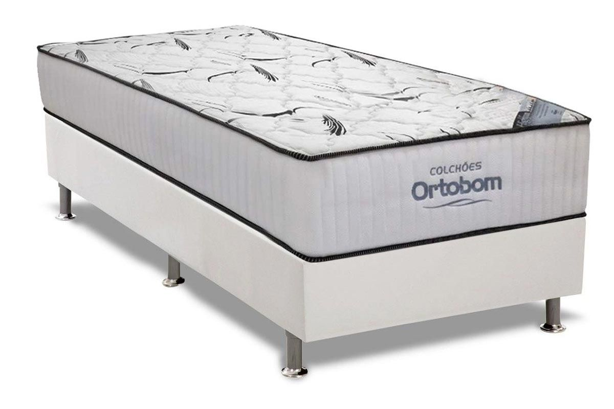 Conjunto Cama Box - Colchão Ortobom Hight Foam + Cama Box Universal Couríno White