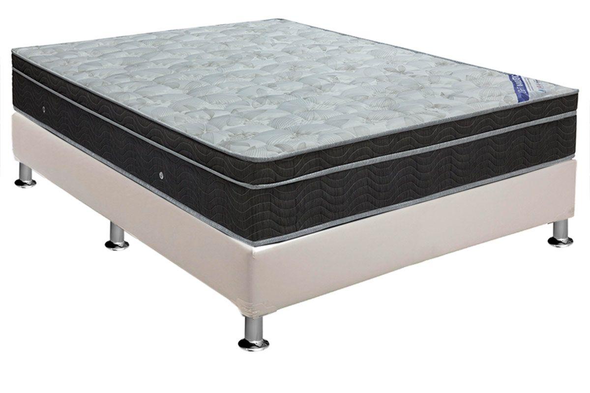 Conjunto Cama Box - Colchão Ortobom de Molas Nanolastic Light Selado + Cama Box Universal Couríno White