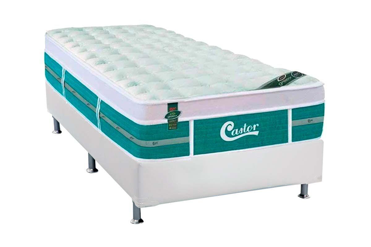 Conjunto Cama Box - Colchão Castor de Molas Pocket Gold Star Green +  Cama Box Universal Couríno White