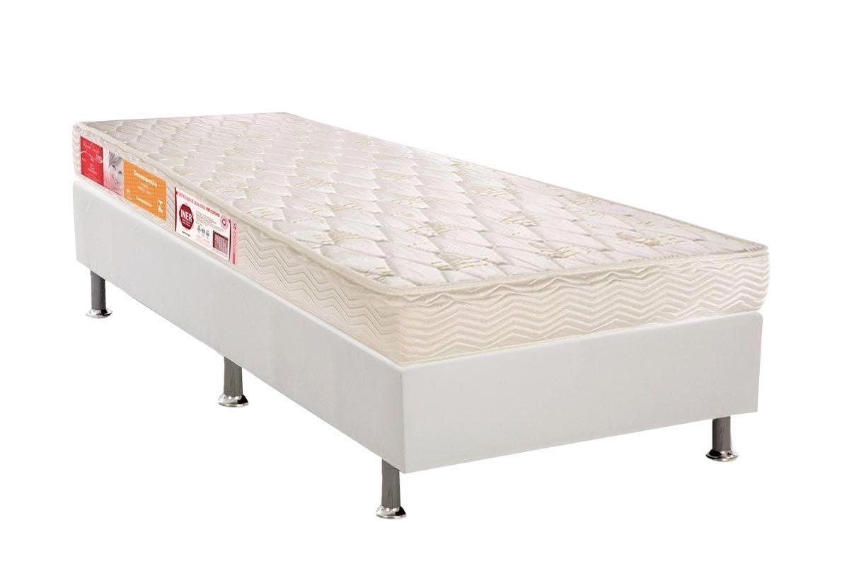 Conjunto Cama Box - Colchão Orthocrin de Espuma D45 Royal + Cama Box Universal Courino White