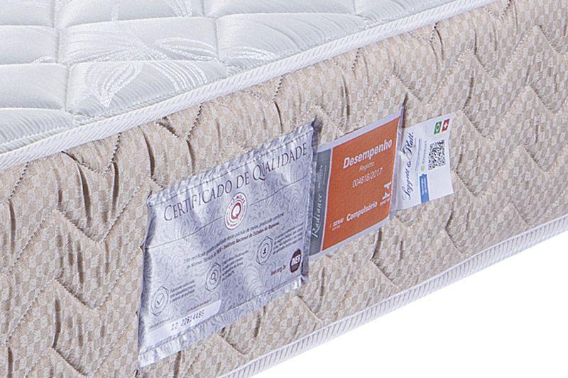 Conjunto Cama Box - Colchão Orthocrin de Molas Pocket Radiance Square + Cama Box Universal Nobuck Bege Crema
