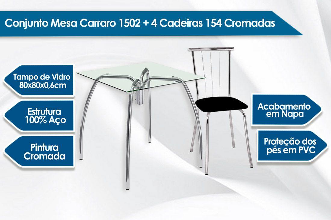 Conjunto Mesa de Jantar Carraro - Base Cromada 1502 c/ Tampo de Vidro 80cm + 4 Cadeiras 154 Cromada