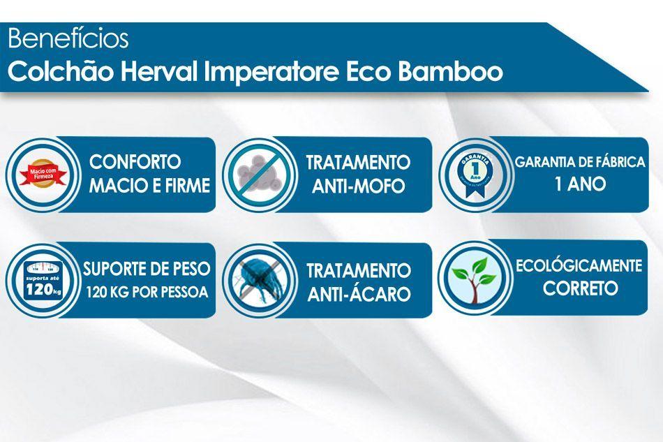 Conjunto Cama Box - Colchão Herval de Molas Pocket Imperatore Eco Bamboo + Cama Box Universal Nobuck Cinza