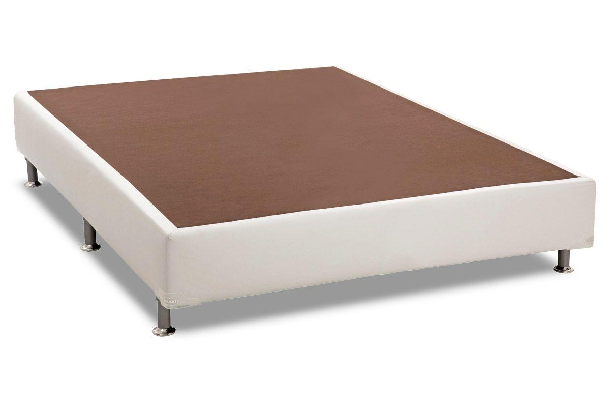 Conjunto Cama Box - Colchão Herval de Molas Pocket Alaska Bambu + Cama Box Universal Couríno White