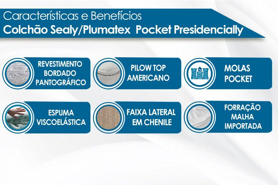 Conjunto Cama Box - Colchão Sealy/Plumatex de Molas Pocket Presidencially + Cama Box Universal Courino Bianco