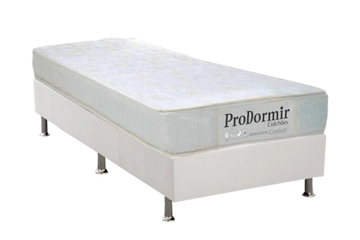 Conjunto Cama Box - Colchão Probel de Molas Prolastic PróDormir Confort + Cama Box Universal CRC Couríno White