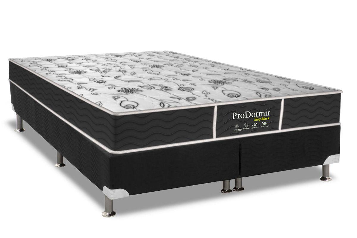 Conjunto Box - Colchão Probel Prolastic Pró Dormir Black + Cama Box Universal CRC Camurça Black