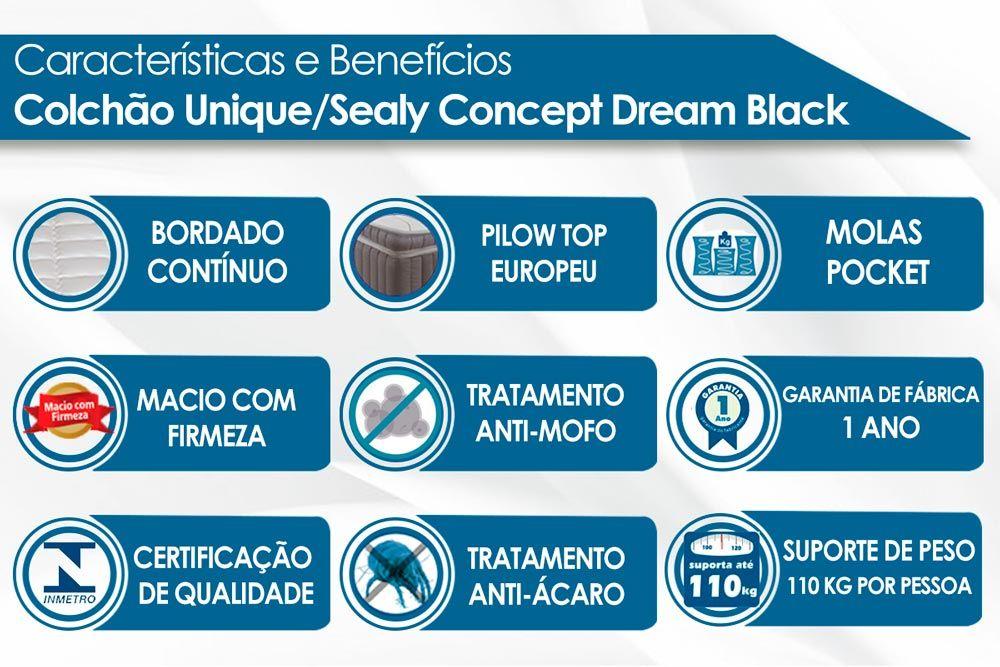 Conjunto Cama Box - Colchão Unique/Sealy de Molas Pocket Concept Dream Black + Cama Box Universal Nobuck Nero Black