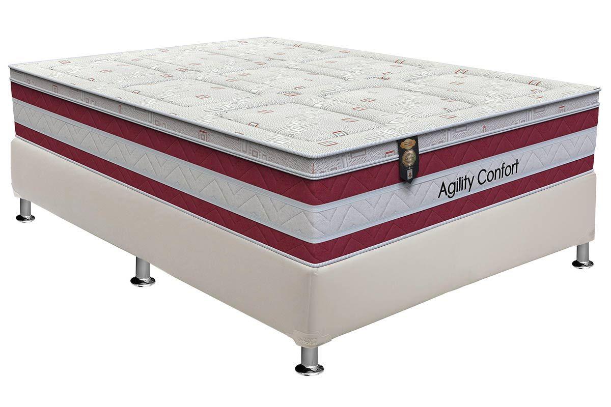 Conjunto Cama Box - Colchão Orthoflex de Molas Pocket Agility Comfort + Cama Box Universal Courino White