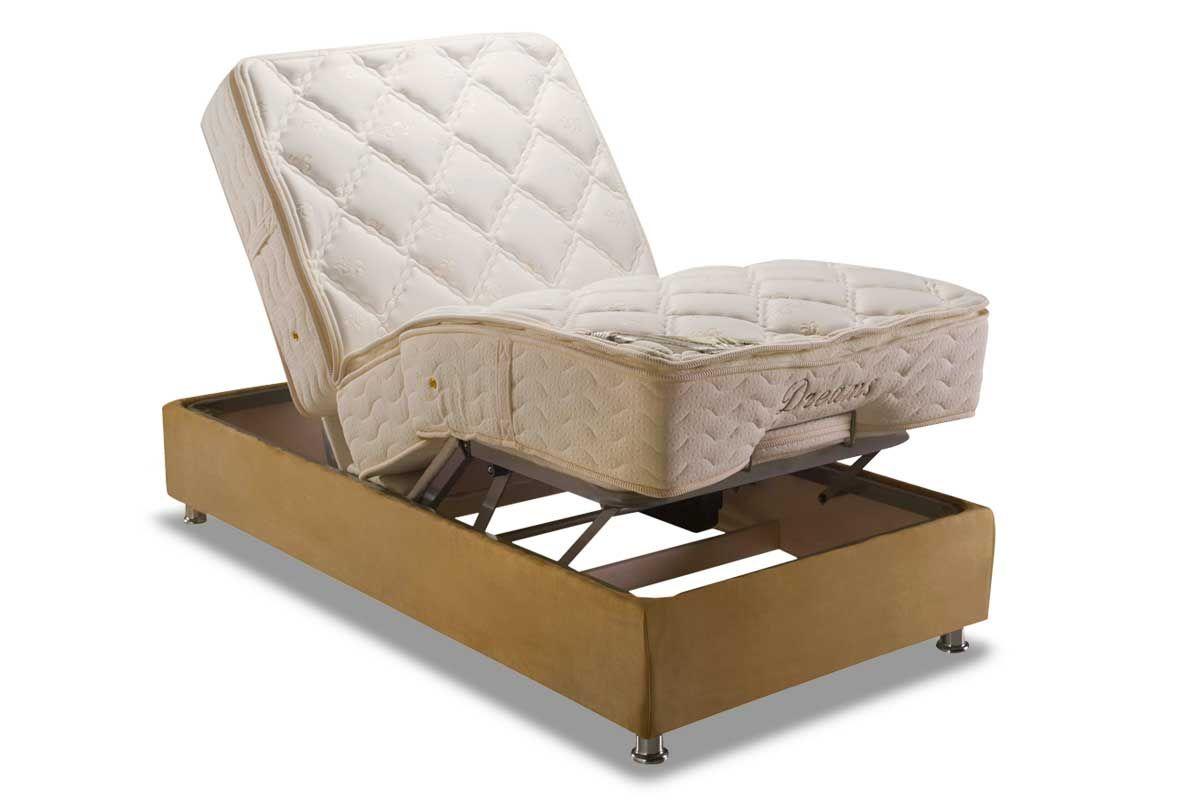 Conjunto Cama Box - Colchão Herval de Molas Pocket Ajustable Com Massagem  MH 1430 + Cama Box Regulável