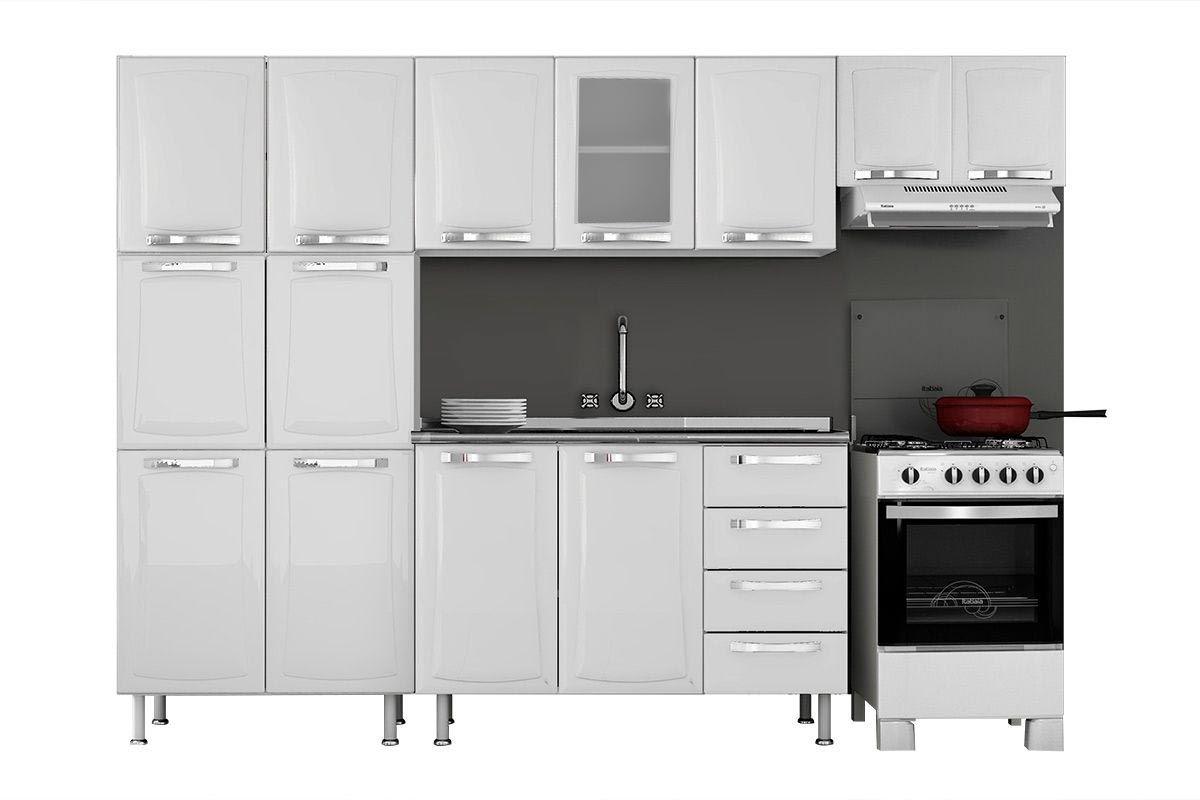 Cozinha Completa Itatiaia Itanew de Aço c/ 4 Peças (Paneleiro+2 Armários+Gabinete) Kit CZ16