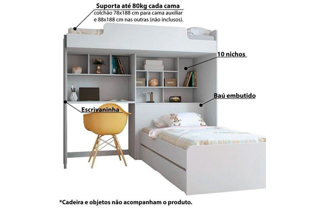 Treliche Multiuso Santos Andirá Office Teen (3 Camas+ Escrivaninha+Baú+Nicho+Prateleiras)