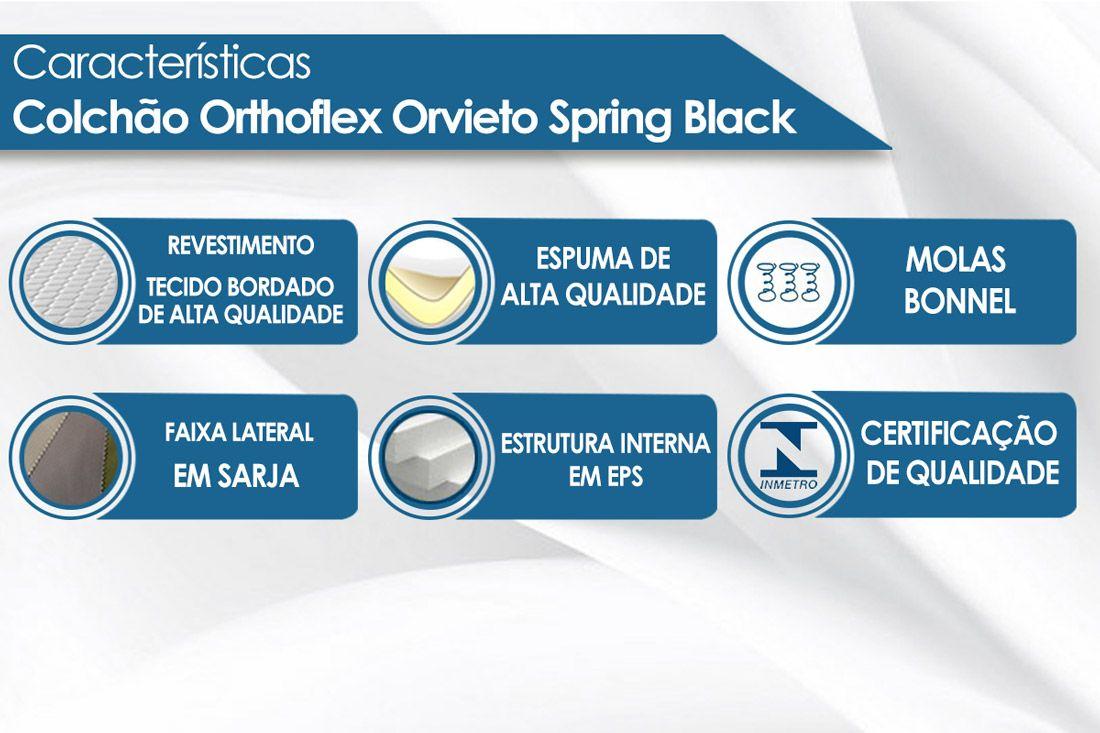 Conjunto Cama Box - Colchão Orthoflex de Molas Bonnel Orvieto Spring + Cama Box Universal Nobuck Cinza