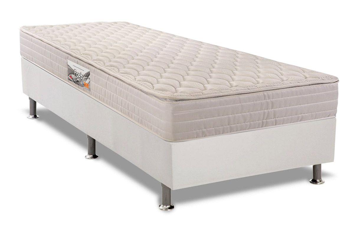 Conjunto Cama Box - Colchão Herval de Espuma Ortopédica Firme Fort  + Cama Box Universal Couríno White