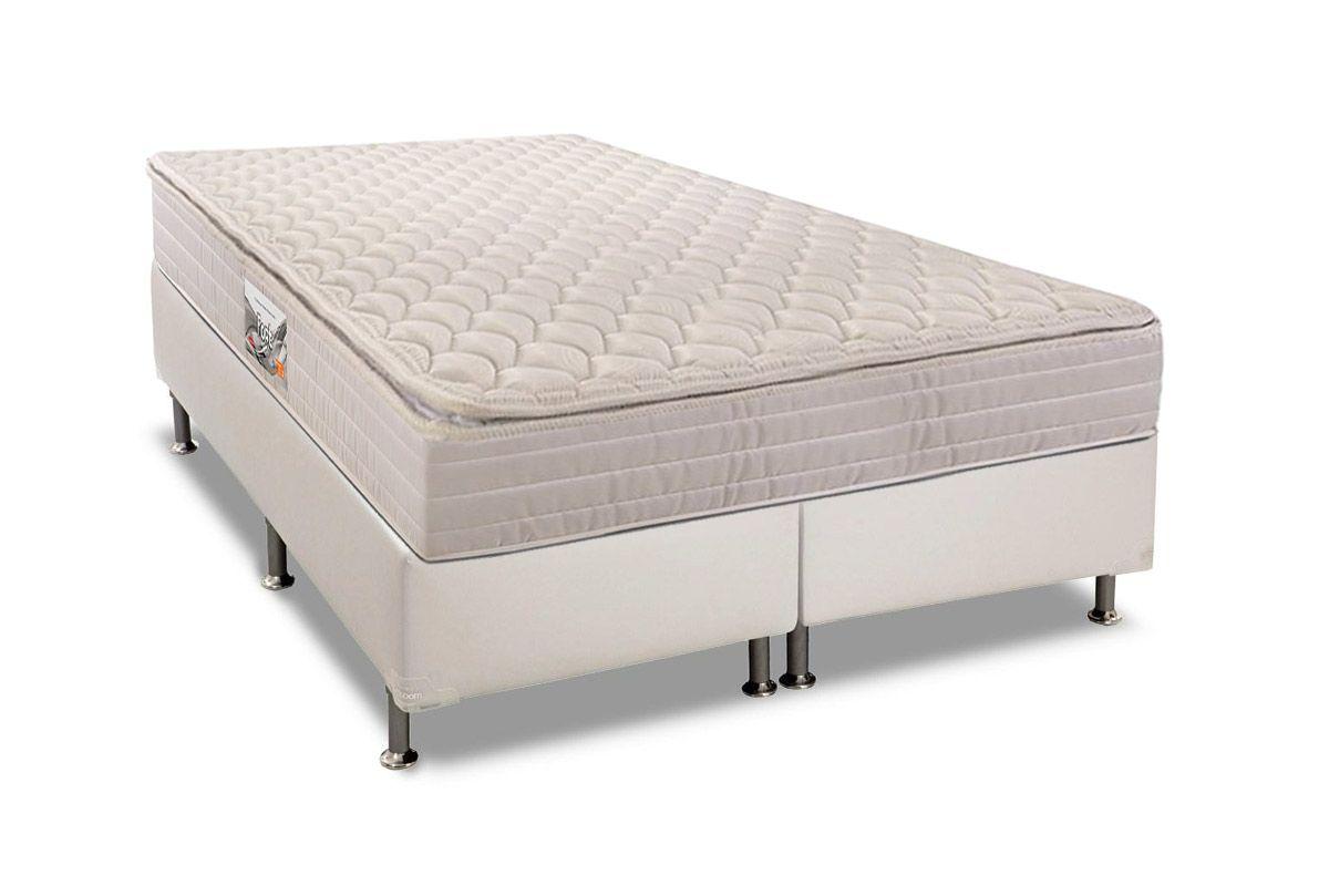 Conjunto Cama Box - Colchão Herval de Espuma Ortopédica Firme Fort+Cama Box Universal Couríno Bianco