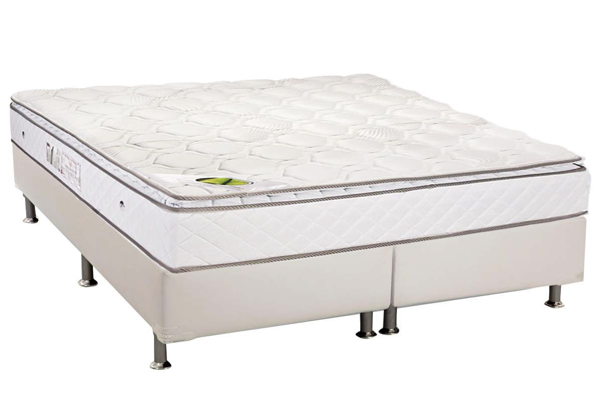 Conjunto Cama Box - Colchão Luckspuma de Molas Pocket Luck Spring White + Cama Box Universal Couríno White