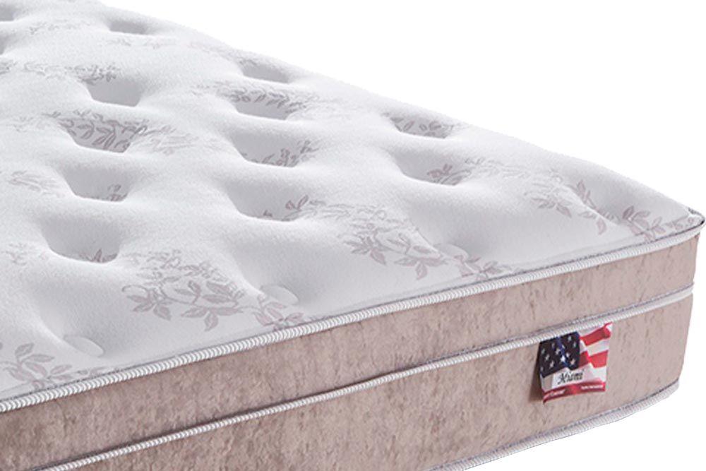 Conjunto Cama Box - Colchão Sealy de Molas Pocket Miami + Cama Box Universal Courino Bianco