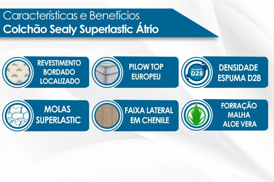 Conjunto Cama Box - Colchão Sealy/Plumatex de Molas Superlastic Átrio + Cama Box Universal Nobuck Cinza