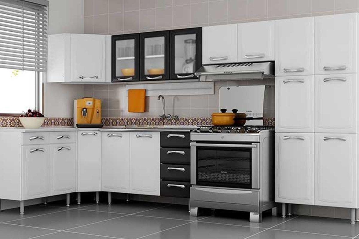 #AC6C1F Armário de Cozinha Itatiaia Premium Aço 3 Portas c/ vidro Costa  1200x800 px Armario De Cozinha Compacto Aço #1993 imagens