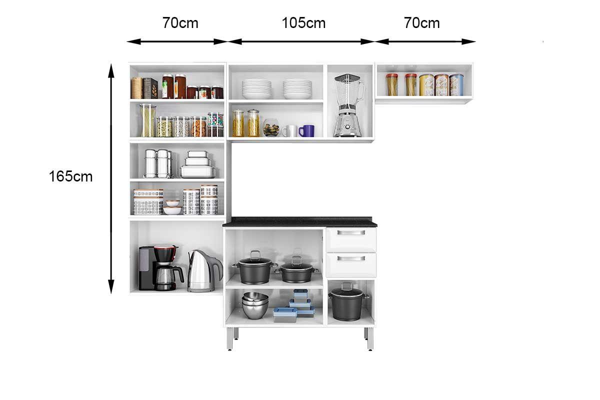 Cozinha Completa Itatiaia Luce de Aço c/ 4 Peças (Paneleiro+2 Armários+Gabinete) Kit CZ28