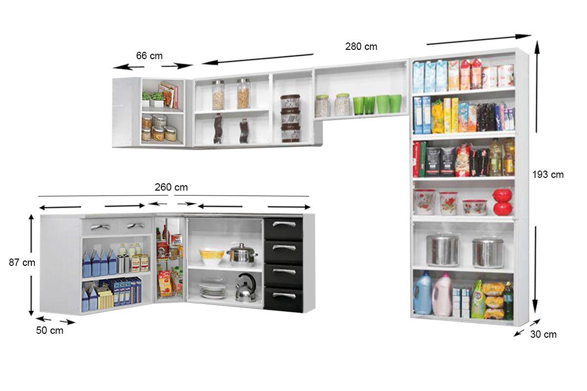 Cozinha Completa Itatiaia Premium de Aço c/ 7 Peças (Paneleiro+3 Armários+3 Gabinetes) Kit CZ23