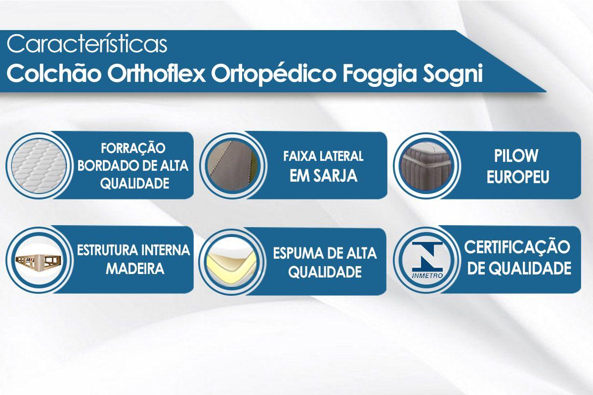 Conjunto Cama Box - Colchão Orthoflex Ortopédico Foggia Sogni + Cama Box Universal Nobuck Nero Black