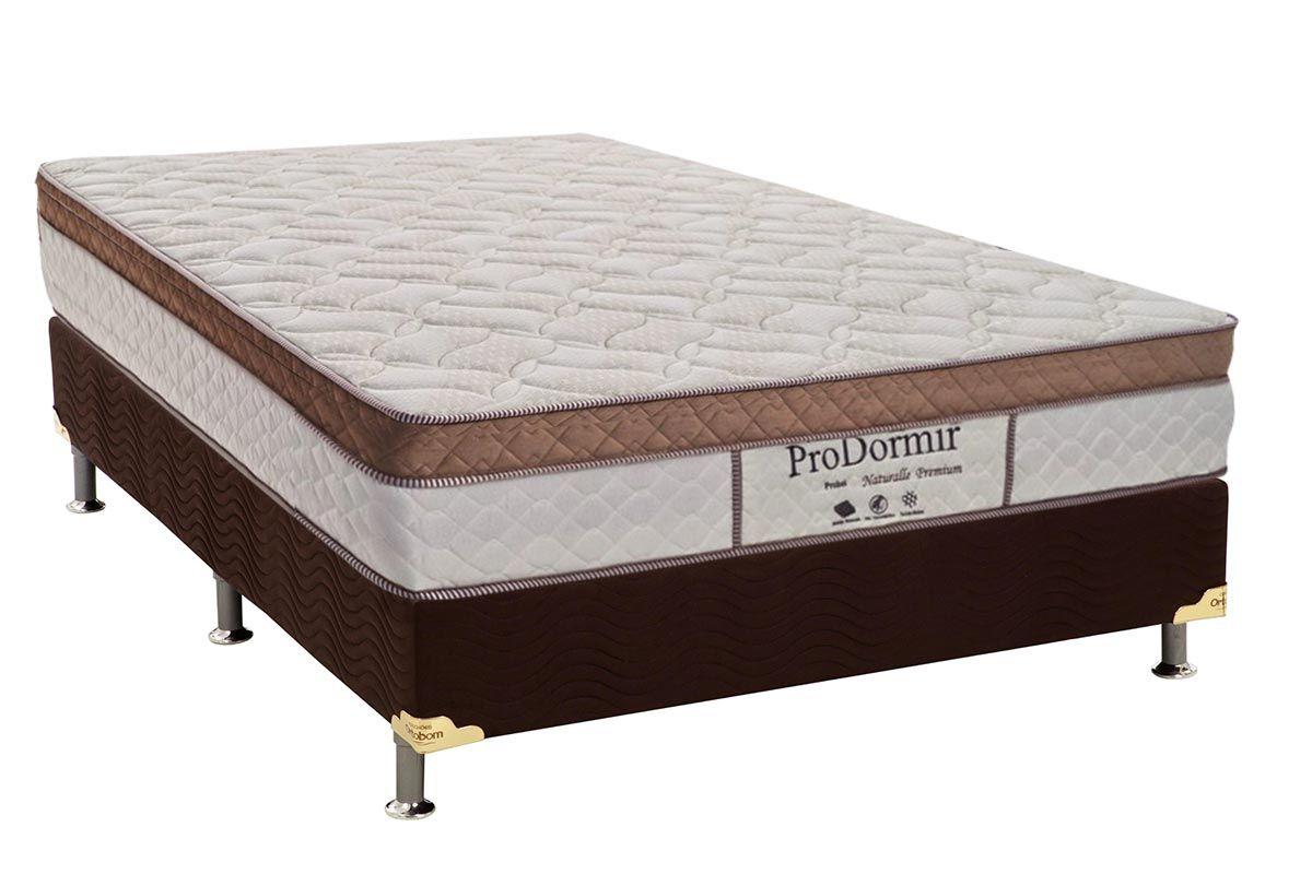 Conjunto Cama Box - Colchão Probel de Molas Prolastic Pró Dormir Naturalle Premium + Cama Box Universal Nobuck Rosolare Café