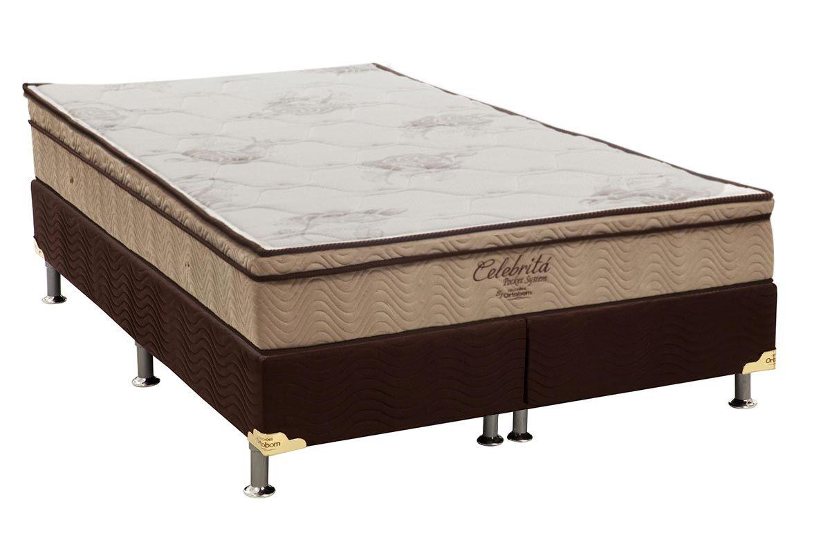 Conjunto Cama Box - Colchão Ortobom de Molas Pocket Celebrita + Cama Box Universal Nobuck Rosolare Café