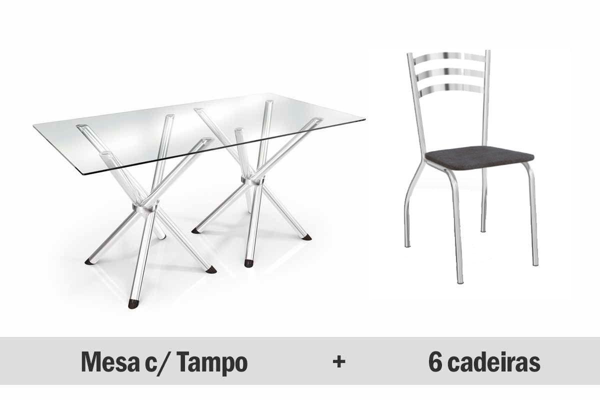 Conjunto Mesa de Jantar Kappesberg - Base Cromada Volga c/ Tampo de Vidro 150cm + 6 Cadeiras Portugal
