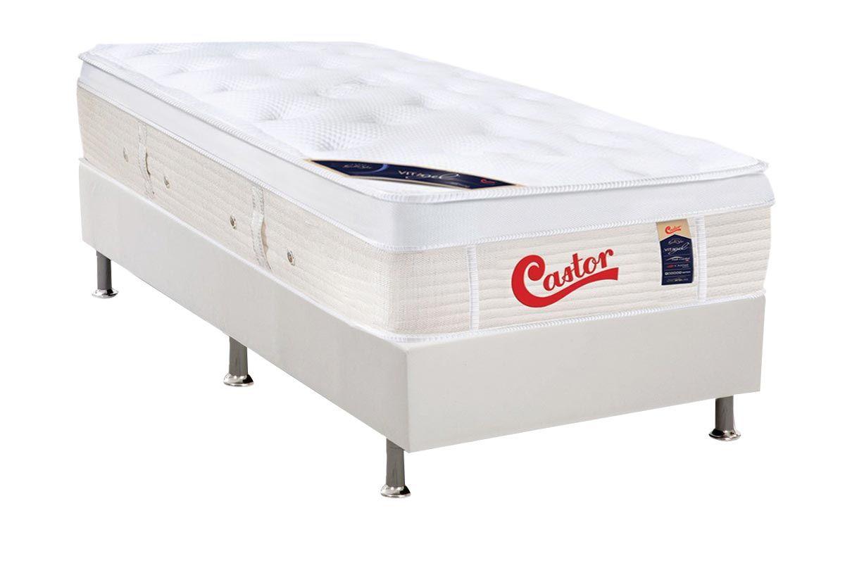 Conjunto Cama Box - Colchão Castor de Molas Pocket Gold Star Vitagel + Cama Box Universal Courino White
