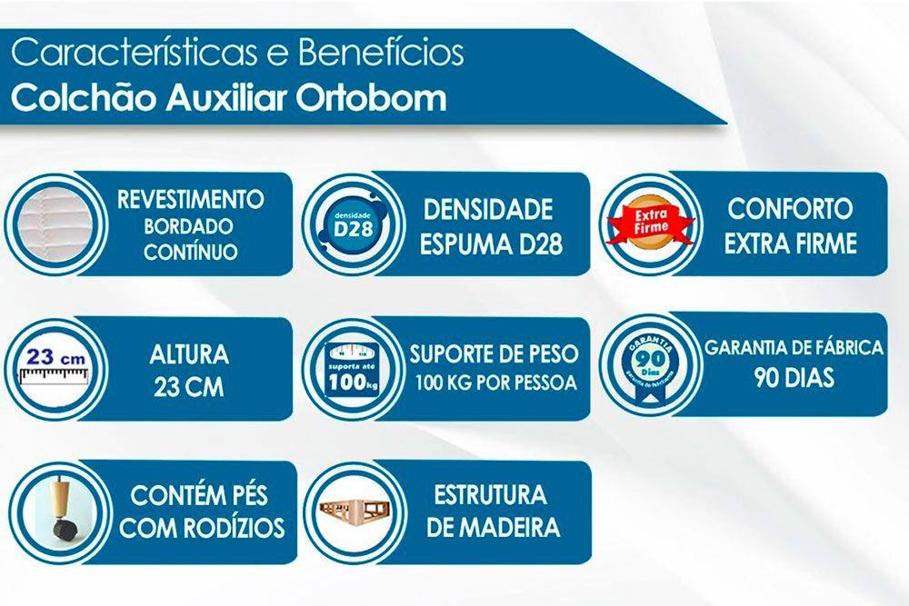 Conjunto Cama Box + Colchão Conjugado Ortobom Ortopédico c/ Auxiliar Courino Bianco (Obrigatória a compra Cama Box + Auxiliar)