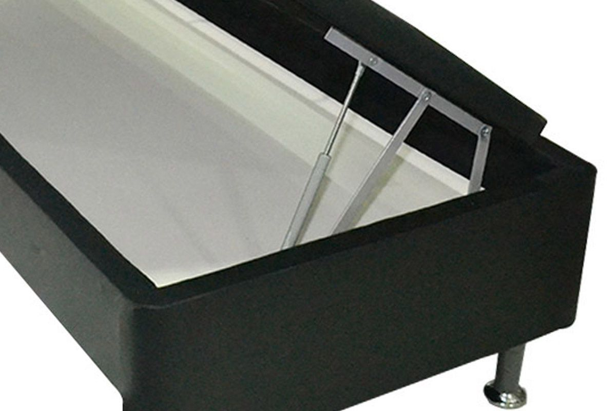 Cama Box Baú Base Ortobom Courino Nero Black  s/ Auxiliar (Obrigatória a compra Cama Box + Auxiliar)
