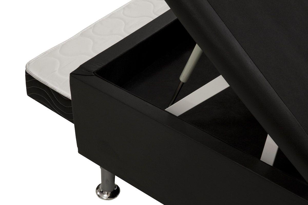 Bicama Box Baú  Ortobom Solteiro c/ Auxiliar Courino Nero Black (Obrigatório a compra Cama Baú + Auxiliar)