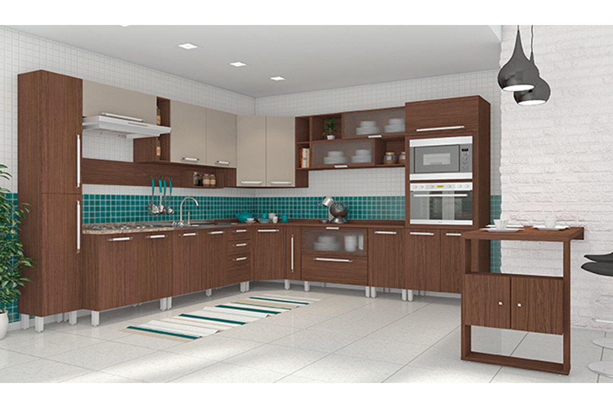 Armário de Cozinha Henn Aéreo Smart Madeira Canto Oblíquo c/ 2  #316968 1200 800