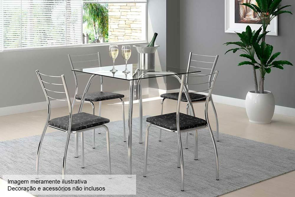 Conjunto Mesa de Jantar Carraro - Base Cromada 1502 c/ Tampo de Vidro  80cm + 4 Cadeiras 1700 Cromada