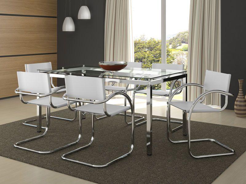 Mesa carraro 328 a o cromado c tampo de vidro 160x90x0 for Bases de mesas cromadas