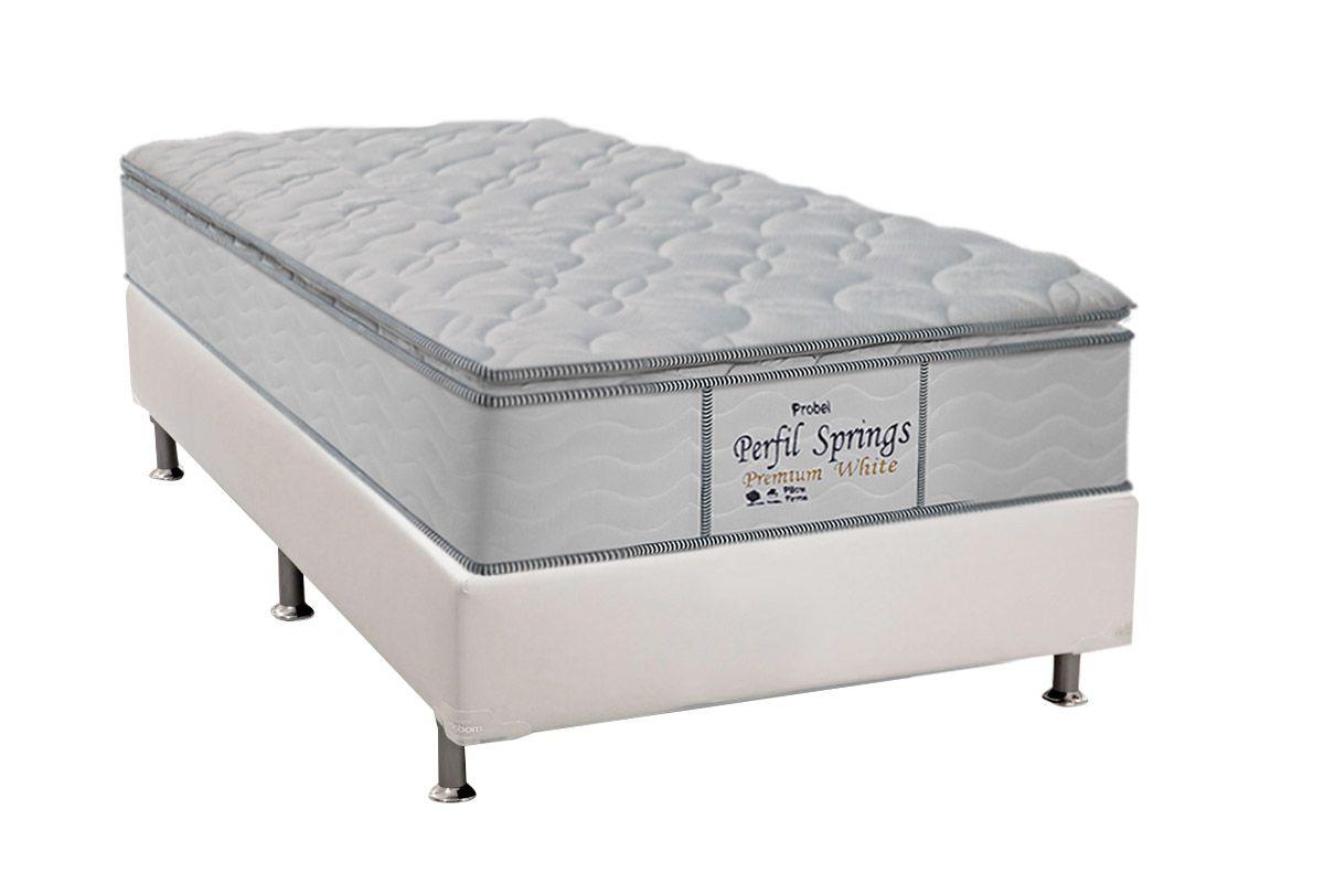 Conjunto Cama Box - Colchão Probel de Molas Pocket Perfil Springs Premium White + Cama Box Universal Couríno White