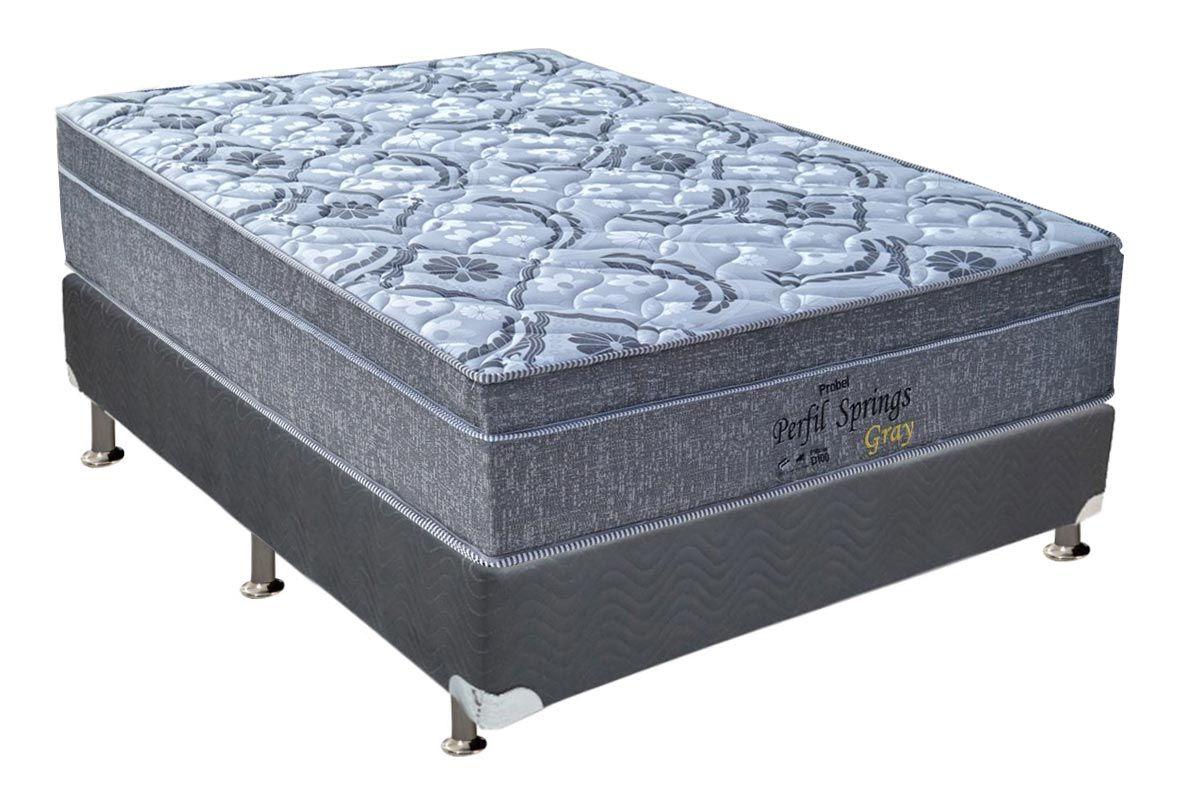 Conjunto Cama Box - Colchão Probel de Molas Pocket Perfil Springs Gray + Cama Box Universal Nobuck Cinza