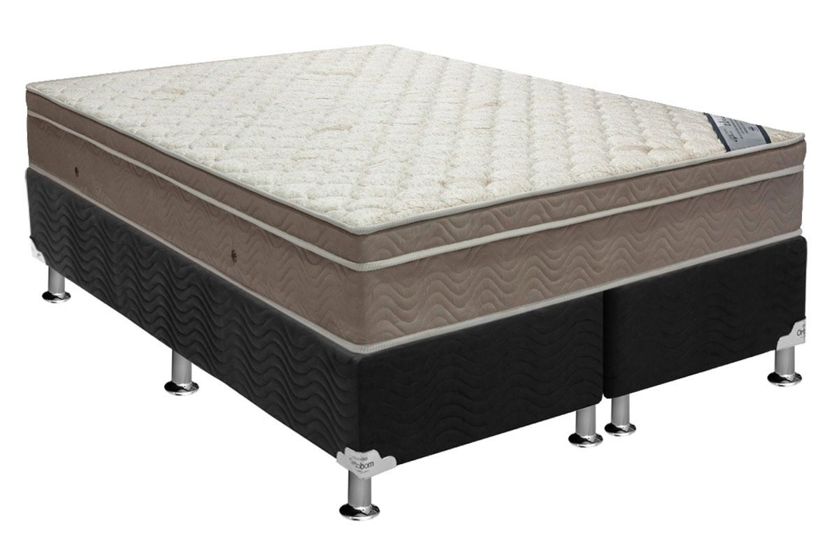 Conjunto Cama Box - Colchão Ortobom de Molas Pocket Light Saúde Ortopilow  + Cama Box Universal Nobuck Nero Black