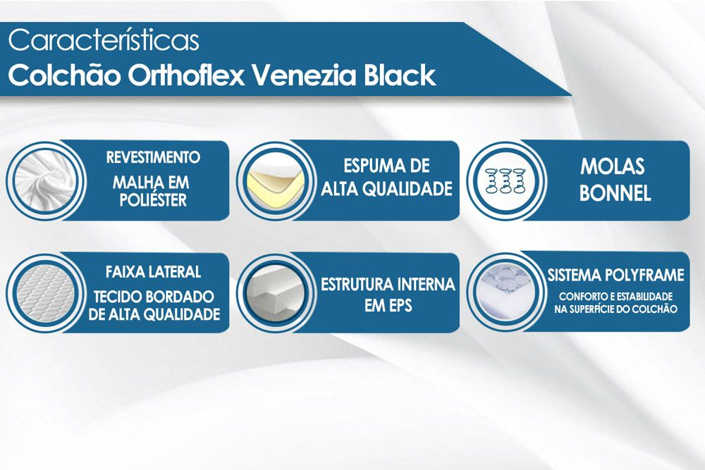 Conjunto Box - Colchão Orthoflex de Molas Bonnel Venezia Black  + Cama Box Universal CRC Camurça Black