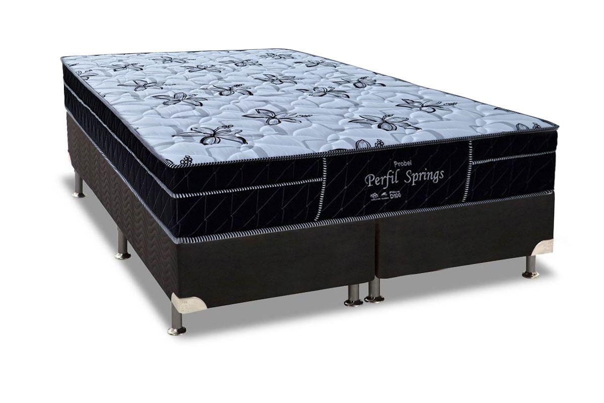 Conjunto Cama Box - Colchão Probel de Molas Pocket Perfil Springs Especial  + Cama Box Universal Nobuck Nero Black
