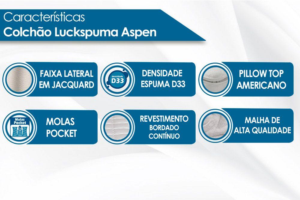 Colchão Luckspuma de Molas Pocket Aspen Bamboo Pilow Top One Side