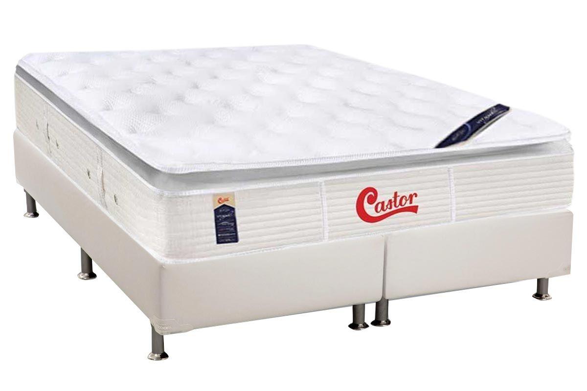 Conjunto Cama Box - Colchão Castor de Molas Pocket Gold Star SLX Vitagel One Face + Cama Box Universal Courino White