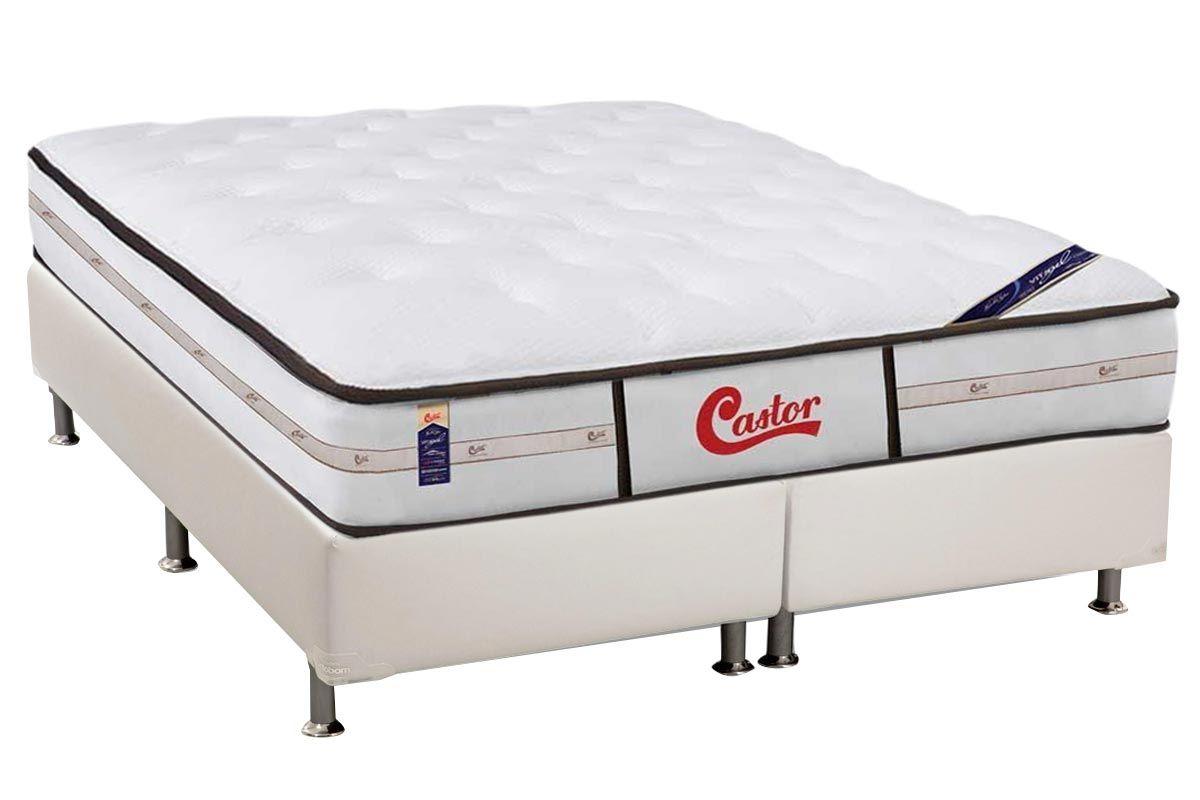 Conjunto Cama Box - Colchão Castor de Molas Pocket Gold Star Vitagel Class Double Face + Cama Box Universal Courino White