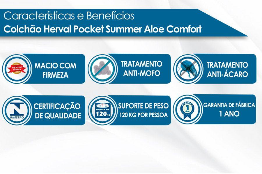 Conjunto Cama Box - Colchão Herval de Molas Pocket Summer Aloe Comfort + Cama Box Universal Nobuck Bege Crema