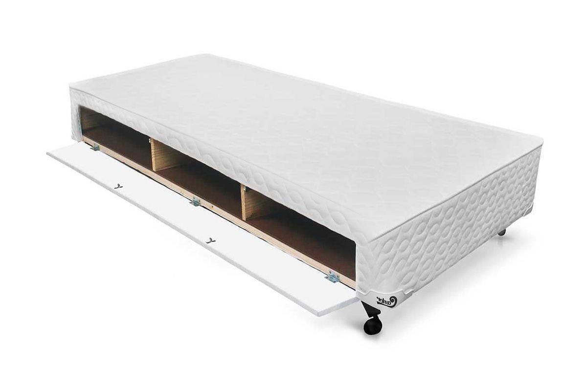 Cama Box Base Castor Closet Poli Tecido White