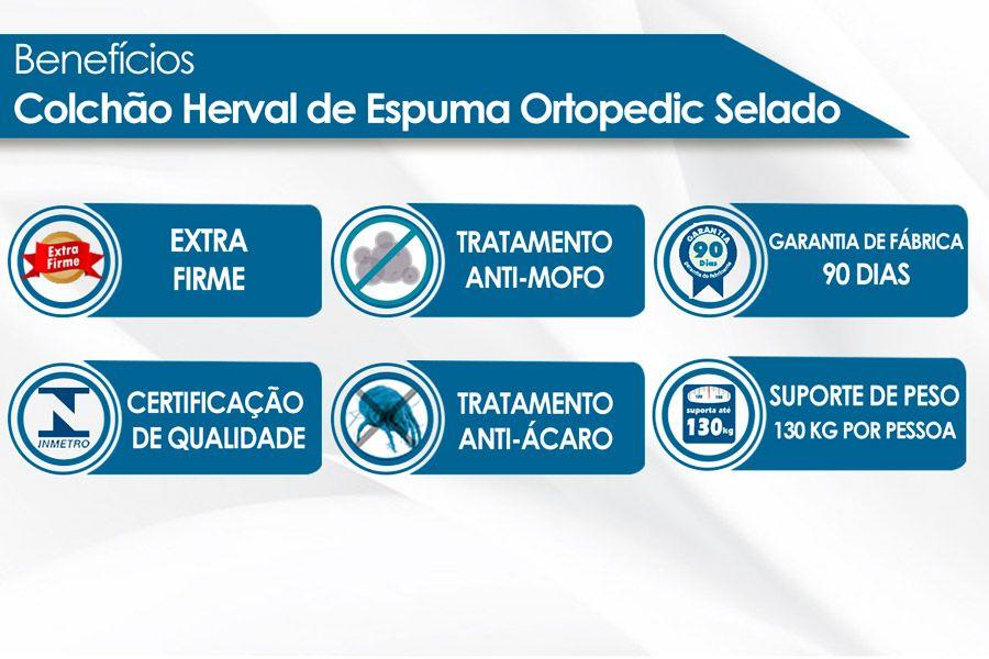 Conjunto Cama Box - Colchão Herval de Espuma Ortopédica Ortopedic Black + Cama Box Universal Nobuck Nero Black
