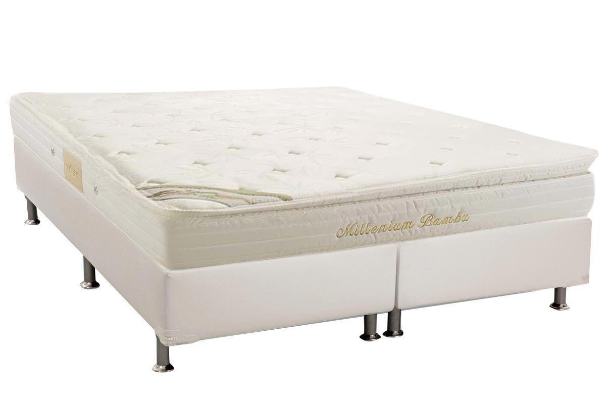 Conjunto Cama Box - Colchão Herval de Molas Pocket Millenium Bambu + Cama Box Universal Couríno White