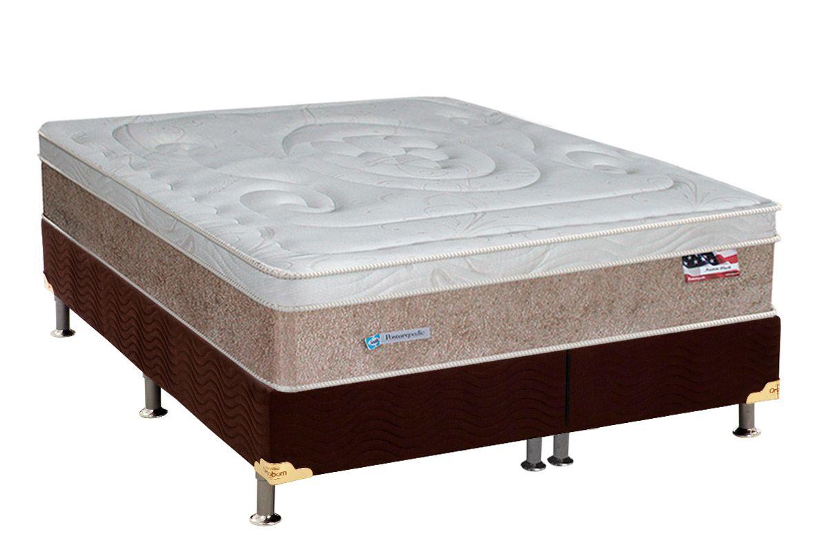 Conjunto Cama Box - Colchão Sealy de Molas Posturepedic Austin Plush + Cama Box Universal Nobuck Rosolare Café
